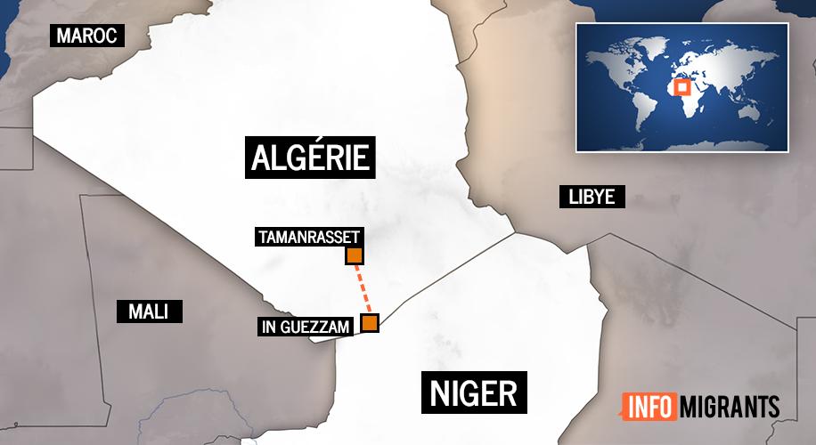"""Selon le HCR, les 120 migrants ont été """"détenus au centre de Tamanrasset dans le sud de l'Algérie, avant d'être conduits vers une zone proche du poste-frontière d'In Guezzam, le 26 décembre"""". Crédit : InfoMigrants"""