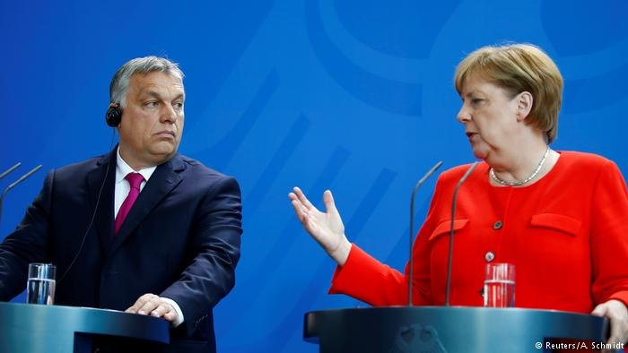 Victor Orban and Angela Merkel give a press conference in Berlin