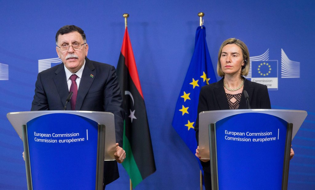 Prime Minister of Libya Fayez al-Sarraj (L) and the High Representative of the European Union for Foreign Affairs and Security Policy, Federica Mogherini (R). Credit: EPA/STEPHANIE LECOCQ