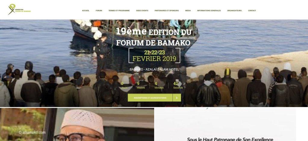 http://forumbamako.com |La page d'accueil du site internet du Forum de Bamako, le 20 février 2019.