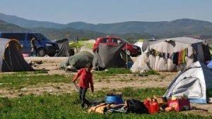 مخيم إيدوميني للمهاجرين قبل أن تخليه السطات اليونانية-أرشيف -ANSA