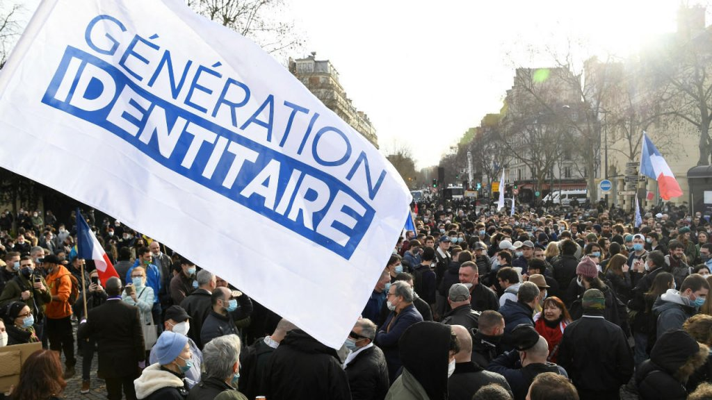 © Bertrand Guay, AFP  A demonstration against the dissolution of the extreme right-wing group Generation Identity in Paris in February 2021.