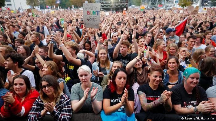 Chemnitz, Germany: Over 65,000 people protest against neo-Nazi violence at the #Wirsindmehr concert