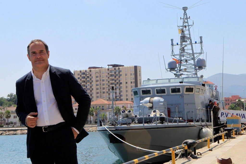 Frontex Director Fabrice Leggeri poses next to a Frontex vessel at the port of Algeciras in southern Spain | Photo: EPA/A.CARRASCO RAGEL