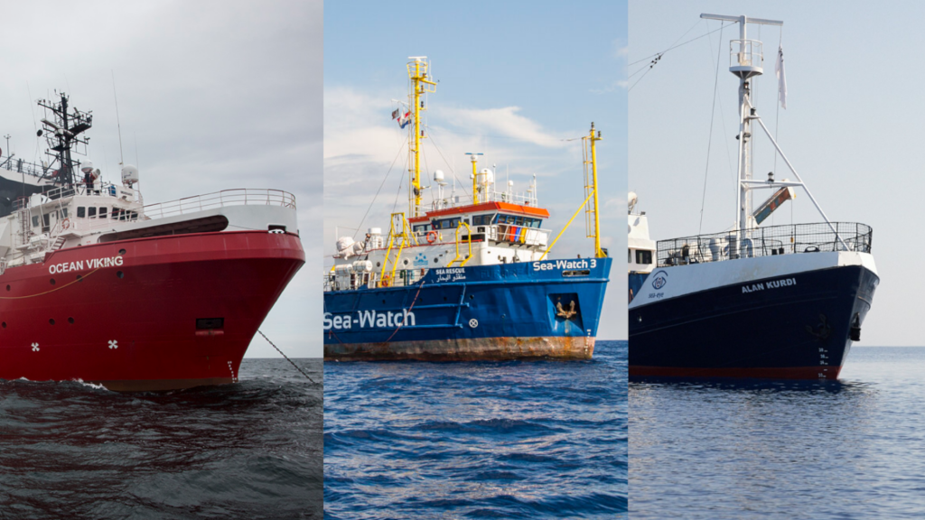 Collage of three NGO search and rescue vessels: Ocean Viking, Sea-Watch 3 and Alan Kurdi | Photo: SOS Mediterranee/Sea-Watch/Sea-Eye