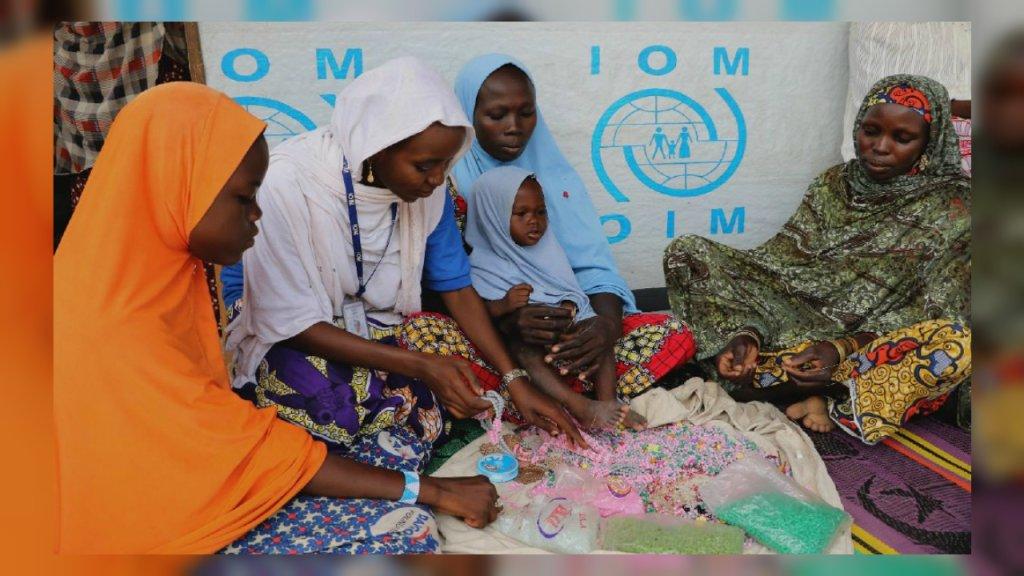 Un groupe de femmes déplacées dans la région de Borno au Nigéria. Crédit : OIM