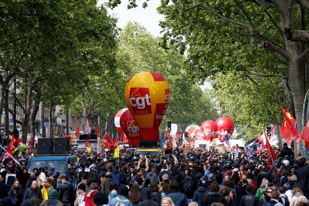 إحدى مظاهرات عيد العمل في الأول من أيار/ مايو 2017 / الصورة لرويترز