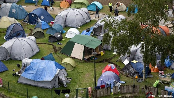 Migrant tents in Brussels