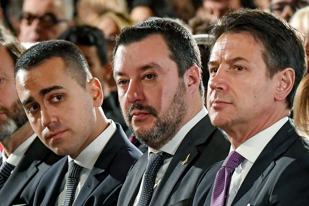 From the left, Deputy Prime Minister Luigi Di Maio, Deputy Prime Minister Matteo Salvini and Prime Minister Giuseppe Conte during a ceremony for Holocaust Remembrance Day in Rome on January 24, 2019. ANSA/ALESSANDRO DI MEO