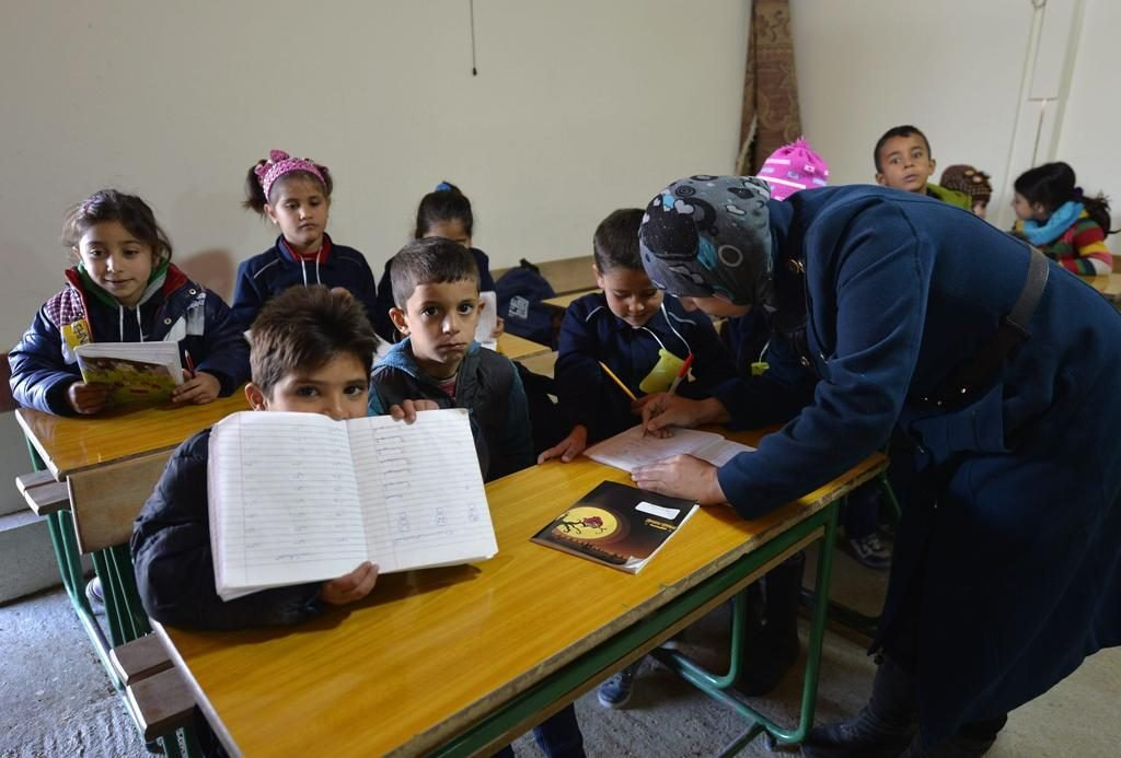 Syrian refugee children attending a class in Lebanon. Photo: EPA/Wael Hamzeh