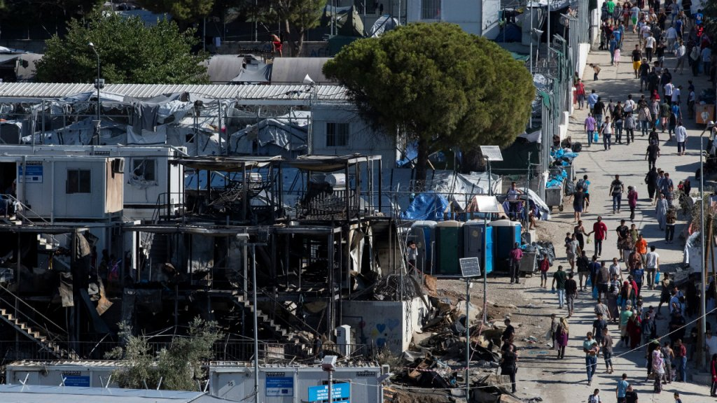 A fire at the Moria camp on 29 September, 2019, destroyed several containers | Photo: Reuters