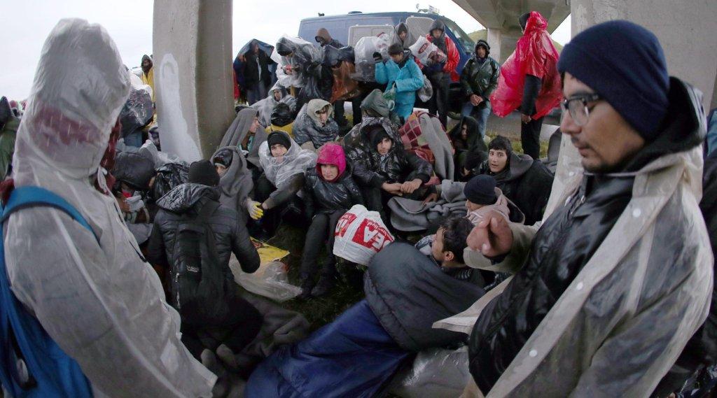 ANSA / مهاجرون يسيرون تجاه الحدود بين صربيا وكرواتيا. المصدر: إي بي إيه/ كوتشا سليمانوفيتش.
