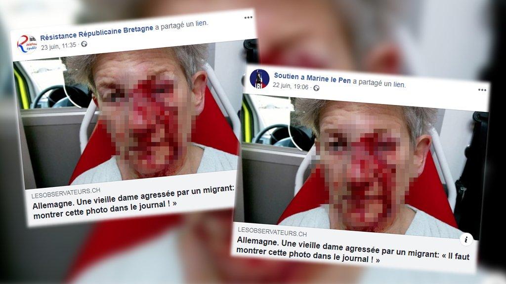 Des publications de groupes Facebook d'extrême-droite montrant une femme avec le visage en sang ont été massivement partagées.