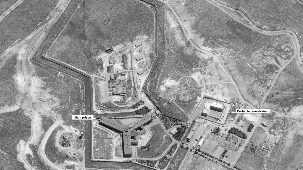 Image satellite de la prison de Saydnaya datée du 18 avril 2017 et publiée par le département d'État lundi 15 mai 2017. Crédit : AFP