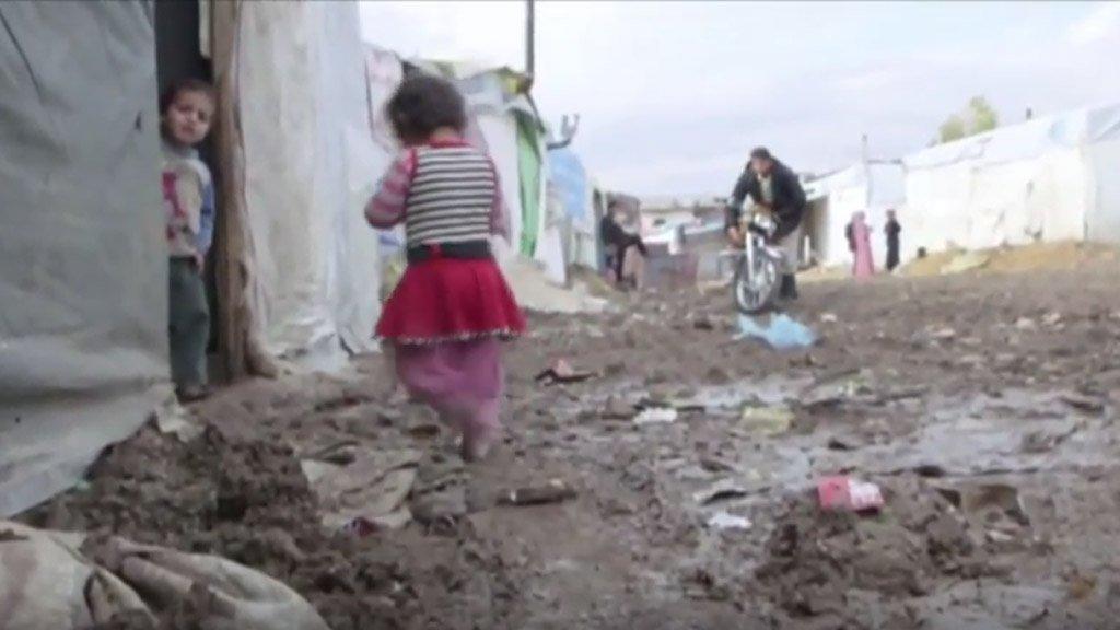 أحد مخيمات اللاجئين السوريين في منطقة البقاع شرق لبنان. أ ف ب/أرشيف