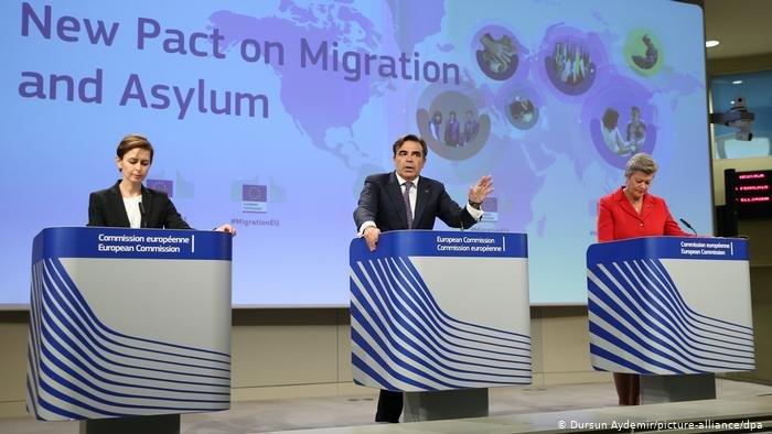 کمیساران اتحادیه اروپا مارگاریتس شیناس (مرکز) و یلوا یوهانسون (راست) پیمان مهاجرت جدید را ارائه می دهند