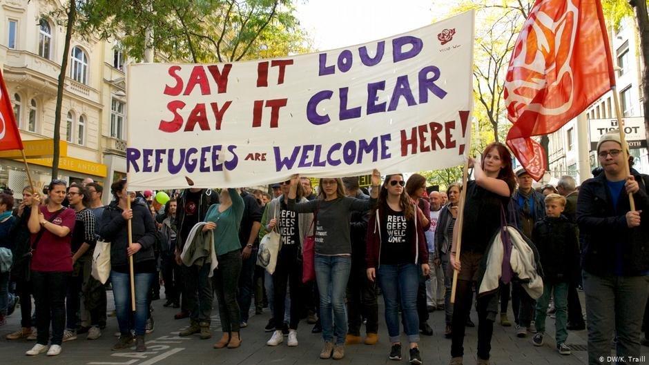Une manifestation pour l'accueil de réfugiés à Vienne | Photo: DW/K.Traill