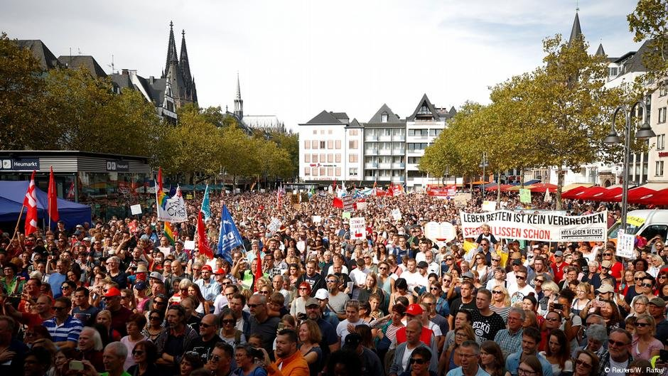 A demonstration in Cologne, Germany