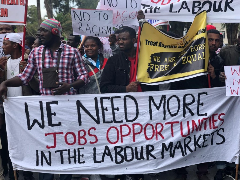 Asylum-seekers in Cyprus demonstrate against the restrictions on their access to work.  April 16 2019 | Photo: Caritas Cyprus