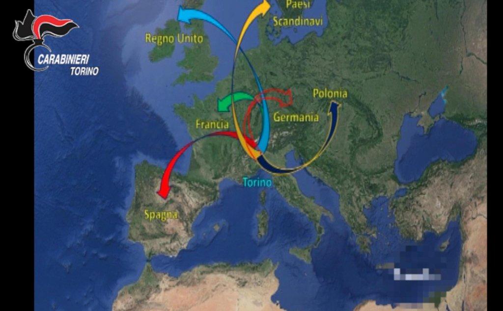 ANSA / خريطة توضح طرق تجارة البشر التي كانت تستخدمها العصابة التي تم توقيف أعضائها قبل يومين. المصدر: أنسا.