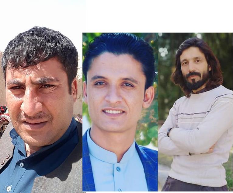 له ښې اړخه افغان ځوانان جرنیل پښتون، جمیل خان عزیزي او ظاهر پښتون. پاکستان فبروري ۲۰۲۰