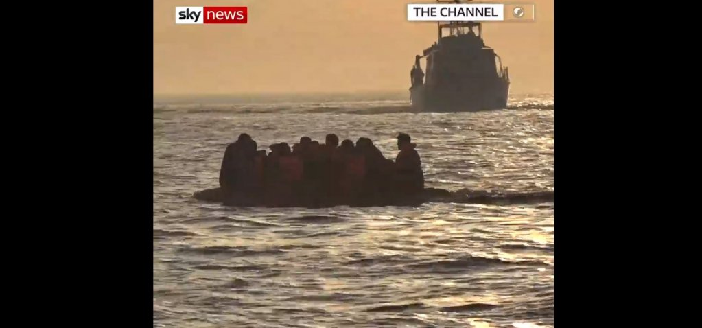 Screenshot: Sky News footage of migrants being rescued in the English Channel | Source: Sky News via https://news.sky.com/