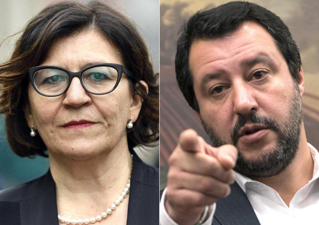 وزيرة الدفاع الإيطالية إليزابيتا ترينتا ووزير الداخلية ماتيو سالفيني. المصدر: أنسا.