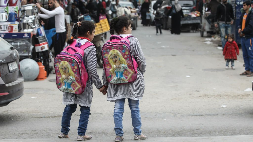 Two Palestinian children in Rafah, Gaza Strip | Credit: Said Khatib, AFP