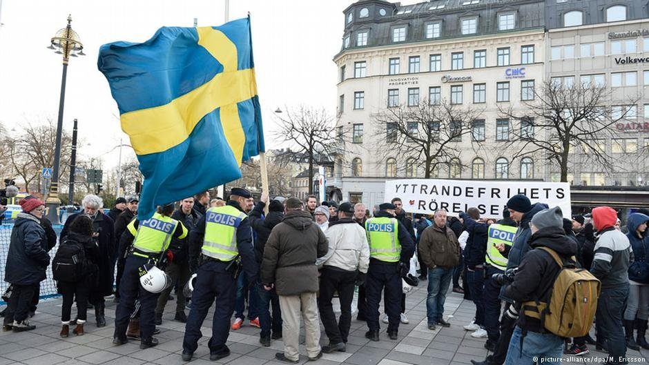 Demonstrators in Stockholm in 2016 call on the government to step down over its handling of migration