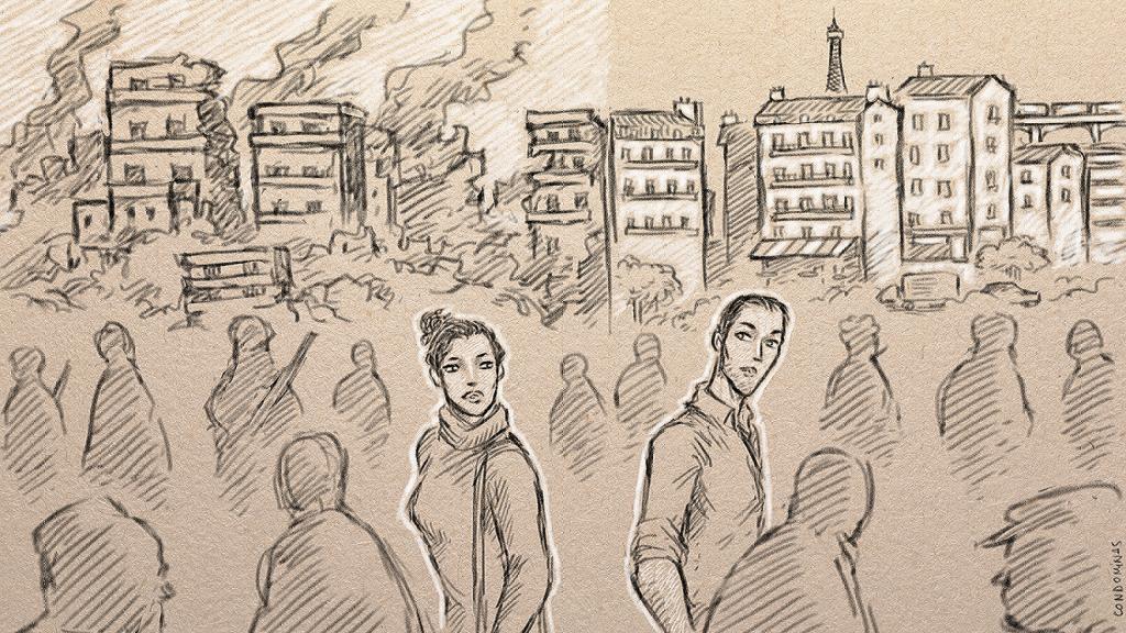 هي وهو من الرقة إلى باريس. رسومات: باتيست كوندوميناس