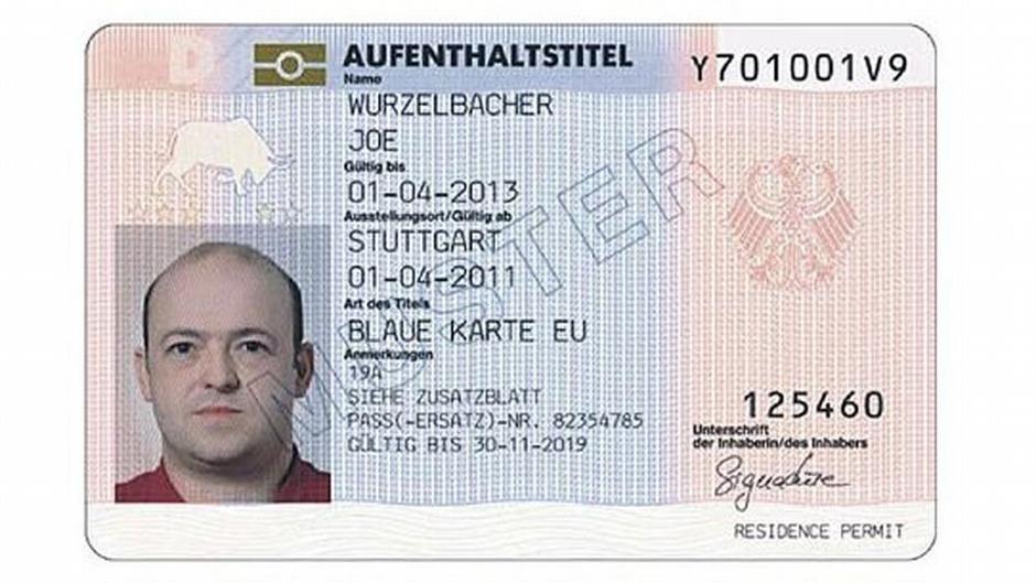 نمونهای از کارت آبی در آلمان