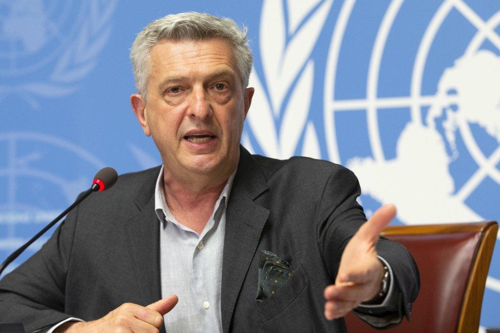 فيليبو غراندي المفوض السامي للأمم المتحدة لشؤون اللاجئين خلال مؤتمر صحفى في جنيف. المصدر: إي بي إيه/ سالفاتوري دي نولفي/ أنسا.