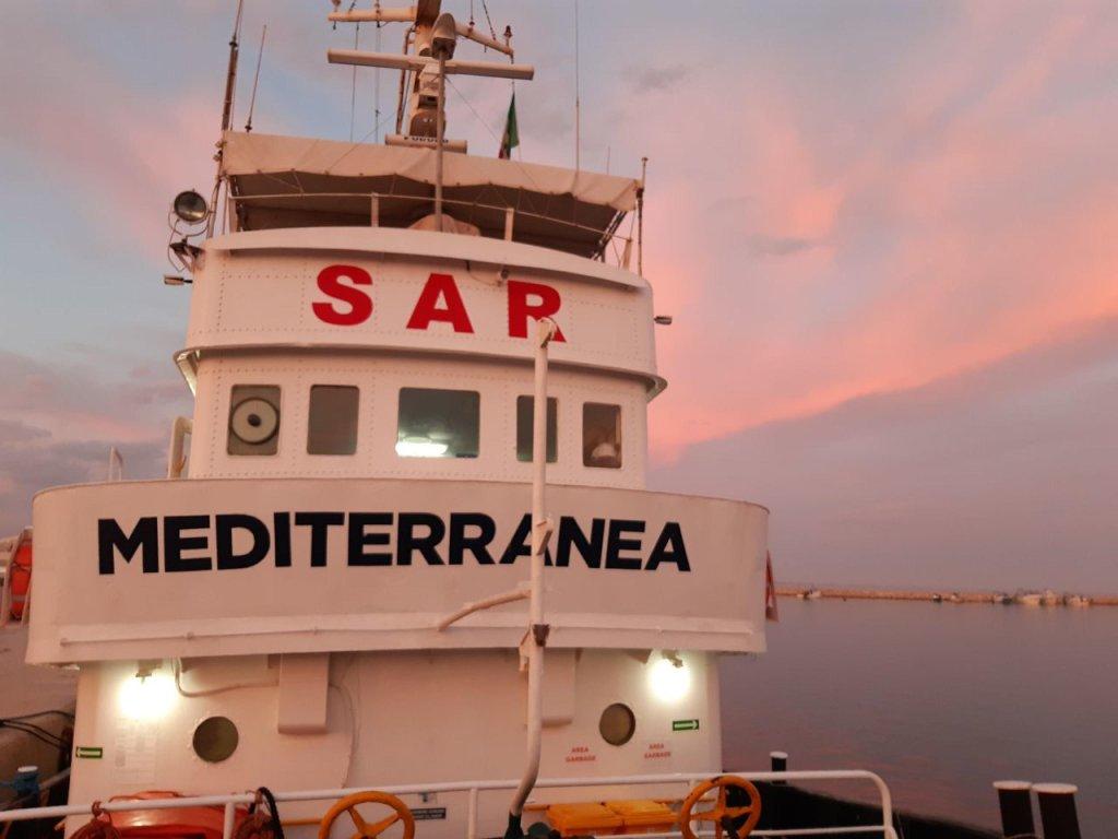 صورة لسفينة ميرجونيو التابعة لمنظمة ميديتيرانيا. المصدر: وكالة أنسا