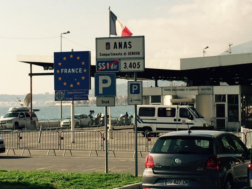 Picture shows traffic at the San Ludovico bridge, at the Italian-French border