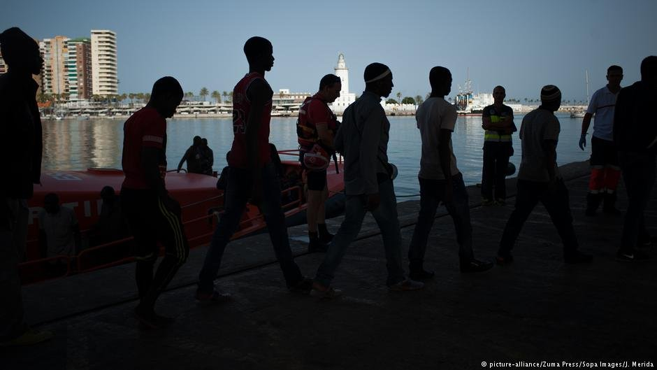 Migrants in the Spanish port of Malaga, August 2018