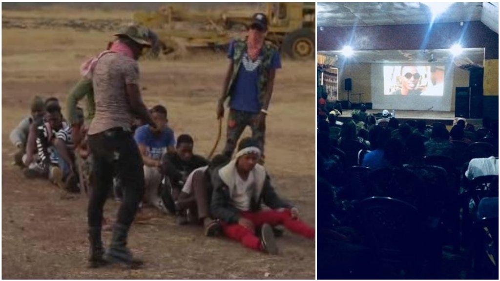 """À gauche : extrait du film """"L'immigrant"""", réalisé par le Guinéen Mamadou Baillo Bah. À droite: projection du film à Dinguiraye, en août2019."""