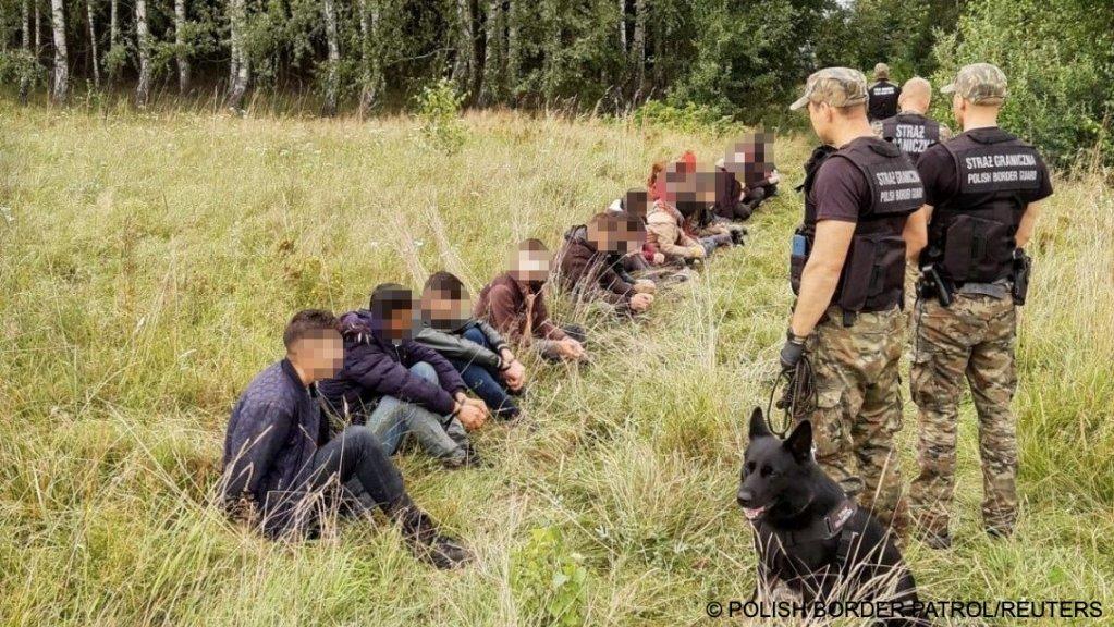 نگهبانان مرزی پولند روز دوشنبه ۹ اگست گفتند که در روزهای اخیر ۳۴۹ مهاجر غیرقانونی را هنگام ورود از مرزهای بلاروس به پولند دستگیر کردهاند. عکس از نگهبانان مرزی پولند/ رویترز