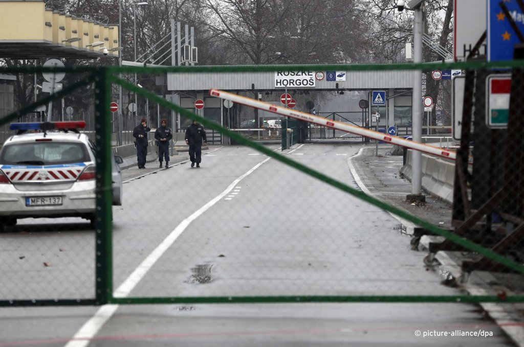"Border crossing Hungary, Serbia Hungarian police guard the closed ""Horgos 2"" border crossing into the Hungary, near Hungarian southern village of Roszke and Horgos, Serbia 