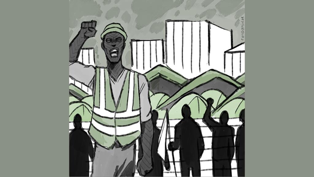 Amadou a tenu pendant des mois un piquet de grève devant Chronopost d'Alforville pour obtenir sa régularisation. Crédit : Baptiste Condominas