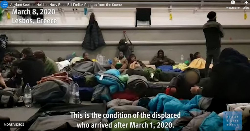 "Screenshot from a Human Rights Watch (HRW) video from March 10, 2020. The footage was allegedly provided to HRW by a Syrian asylum seeker on board the ""Rhodes"" navy vessel in Mytilene harbor on the Greek Aegean island of Lesbos 