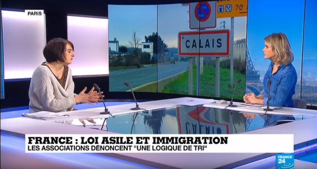 Claire Rodier, présidente du Gisti. Crédit : capture d'écran France 24