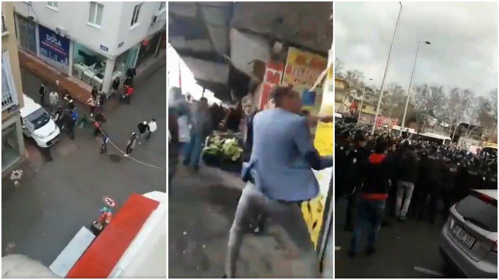 Captures d'écran de vidéos montrant des incidents survenus dans les villes turques de Samsun et Kahramanmaras.