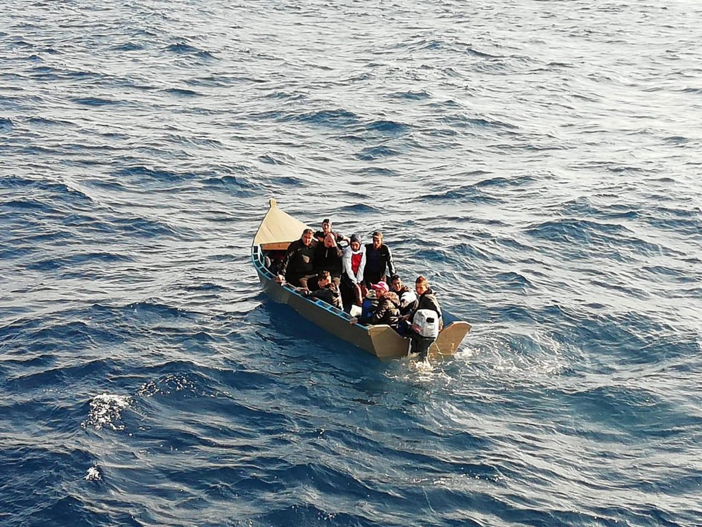 archive photo shows about 15 migrants aboard a small boat intercepted by finance police off the southern coast of Sardinia. ANSA/FINANCE POLICE PRESS OFFICE/CAGLIARI AIR AND NAVAL GROUP