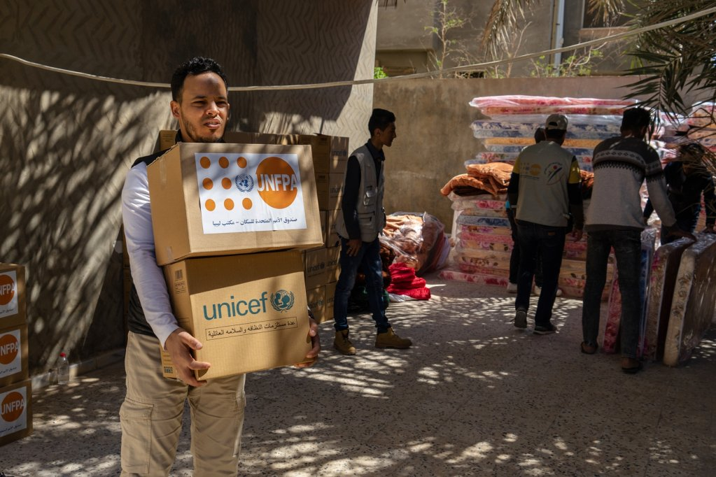 UN agencies bringing aid to people displaced by conflict in Tripoli. Photo: Zuhair Abusrewil/ANSA
