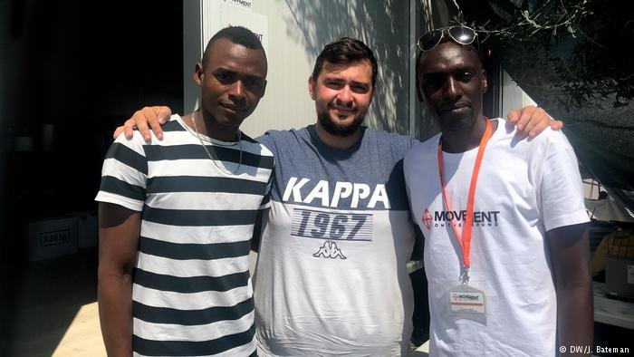 Kwizera Ahmed Aimable, Adonis Zeivekis and Thierry Harbonimana in Lesbos