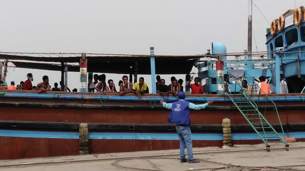 53 Ethiopian migrants departing from Hodeida port, Yemen, en route to Djibouti, where IOM staff will coordinate their onward journey to Ethiopia. Credit: IOM