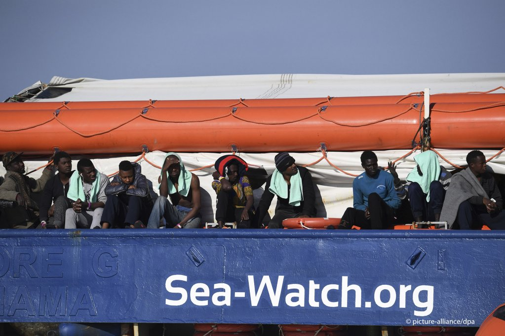 "Migrants onboard the ""Sea Watch 3"" hoping for disembarkation, January 27, 2019 