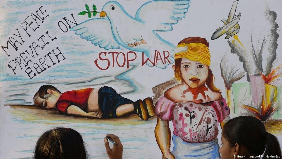 عکس از آرشیف دویچه وله/ نقاشی پیکر آلان کردی را نشان میدهد