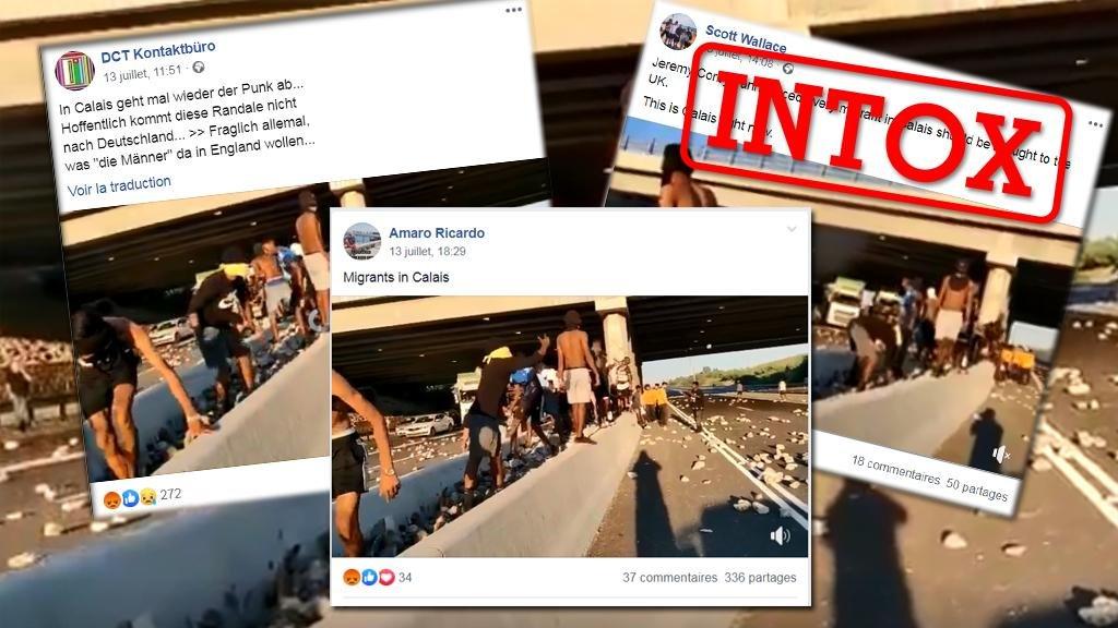 Plusieurs publications d'internautes affirment que cette scène a été filmée à Calais. Ce n'est pas le cas. Crédit : Les Observateurs