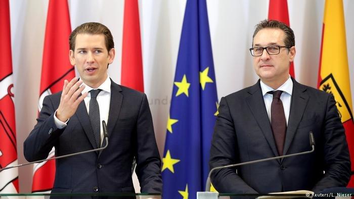 قام مستشار النمسا زيباستيان كورتس (على اليسار) مع نائبه هاينز-كريستيان شتراخه (على اليمين) بتشديد سياسة اللجوء في البلاد
